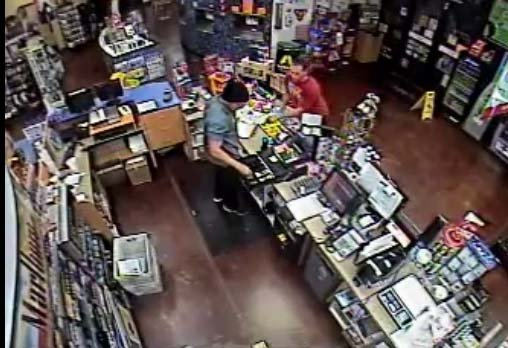 Still from surveillance video which captured a convenience store robbery in North Las Vegas on Oct. 27. (Source: North Las Vegas Police Department)