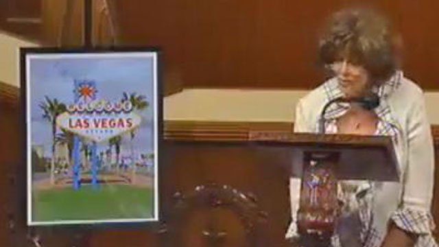 Shelley Berkley speaks on the floor of the U.S. House in this undated image. (FOX5 FILE)