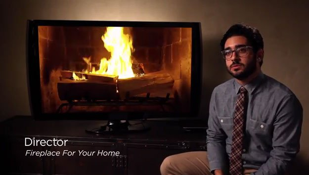 """In the behind the scenes of """"Fireplace For Your Home,"""" the Director explains the meticulous process of finding wood for the film. (Source: YouTube/Netflix)"""