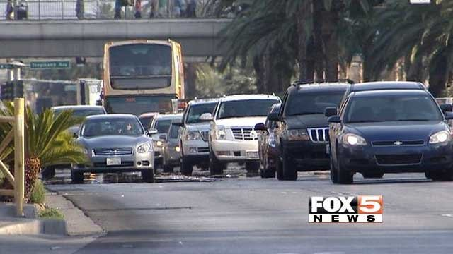 Traffic moves along the Las Vegas Strip in this undated image. (File/FOX5)