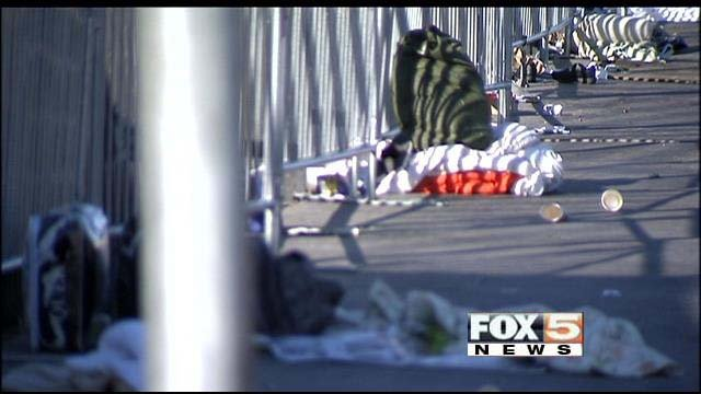 Trash, blankets and other discarded items in the area of Main Street and Foremaster Lane in Las Vegas. (FOX5)