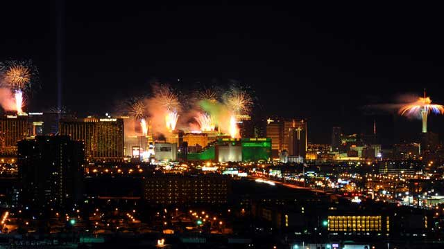 In this photo provided by the Las Vegas News Bureau, fireworks burst over the Las Vegas Strip at midnight on New Year's Eve, as seen from the South Point Hotel Casino on Jan 1, 2013. (AP Photo/Las Vegas News Bureau, Brian Jones)