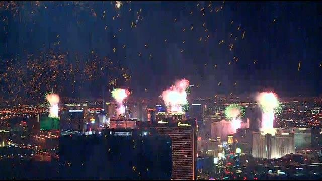 Fireworks launch from Las Vegas Strip casino resorts to ring in 2014. (FOX5)