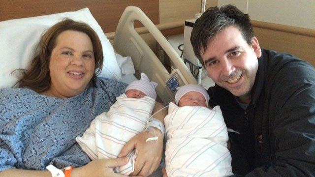 Parents Catherine and Matt Fitzpatrick hold their twins Grace and Thomas, who were born on Jan. 1, 2014. (Source: Summerlin Hospital)