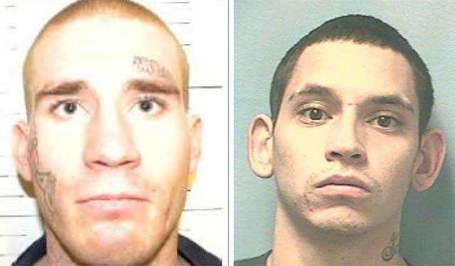 The Nevada Department of Corrections said Dustin Cottiero, left, and Corey Gomez walked away from work detail in the Reno area on Wednesday, Jan. 8. (Source: Nevada Dept. of Corrections)