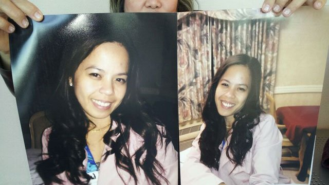 A co-worker of Daisy Dahan holds up pictures of the slain victim who died inside her apartment on Jan. 10, 2014. (FOX5)