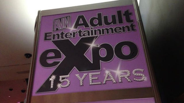 A sign welcomes folks to the Adult Entertainment Expo at the Hard Rock Hotel & Casino in Las Vegas. (FILE/FOX5)