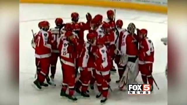 The Las Vegas Wranglers huddle on the ice during a hockey game in this undated image. (File/FOX5)