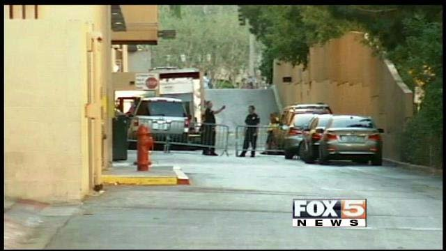 Police block off an area near Planet Hollywood resort-casino in October 2013. (FOX5)