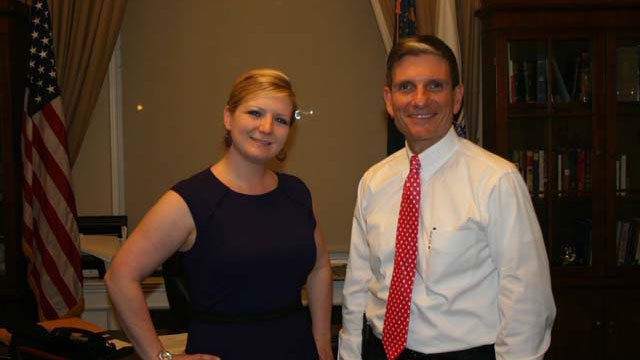 Clark High School teacher Amy Evers poses with Rep. Joe Heck ahead of the State of the Union address on Jan. 28. (Courtesy: Amy Evers)