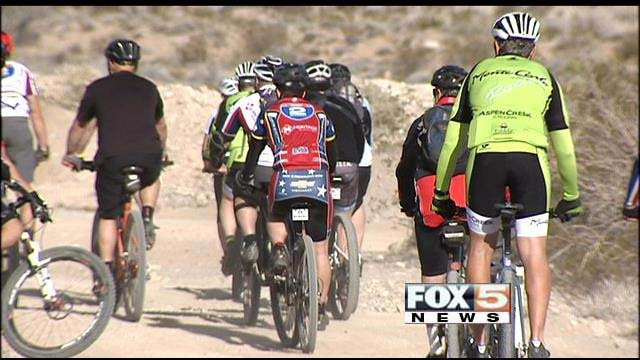 Veterans take part in the Ride 2 Recovery near the Red Rock Conservation Area on Wednesday, Jan. 29. (FOX5)