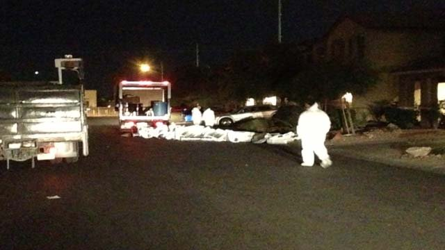 Police in hazmat suits with numerous marijuana plants seized from a house on Lilly Haven Avenue in Las Vegas on Jan. 24, 2014. (Erik Ho/FOX5)