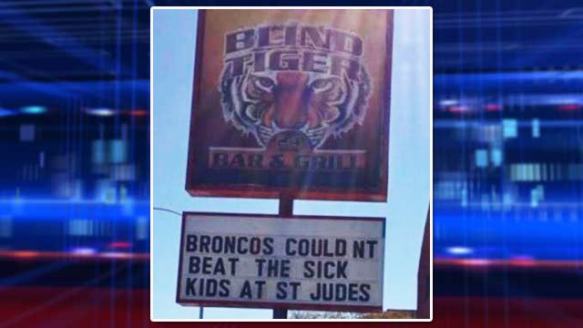 The marquee outside the Blind Tiger Bar & Grill shortly after the Super Bowl. (FOX5 Report It)