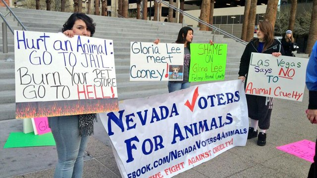 A rally was organized outside Regional Justice Center on Feb. 5, 2014 by the Nevada Voters for Animals. (FOX5)