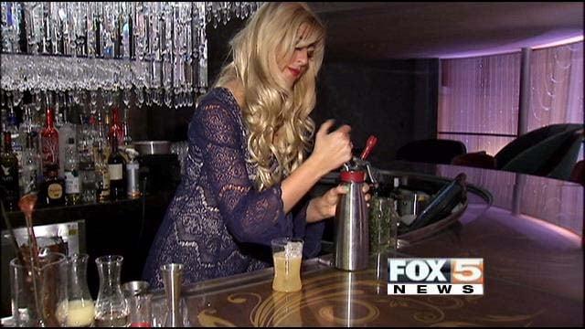 Mariena Mercer, property mixologist at Cosmopolitan Las Vegas, incorporates molecular mixology into her drink preparation. (FOX5)