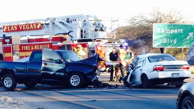Emergency crews at the scene of a head-on collision on Summerlin Parkway near Rampart Boulevard on Wednesday, Feb. 5. (Kristen Arcentales/FOX5 Report It)