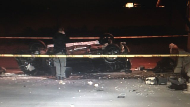 Police said a person died in a single-vehicle wreck on Spring Mountain Road near Decatur Boulevard on Feb. 14, 2014. (Peter Dawson/FOX5)