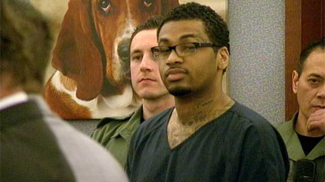 Ammar Harris listens to proceedings in a Las Vegas courtroom during his sentencing Feb. 26, 2014. (Peter Dawson/FOX5)