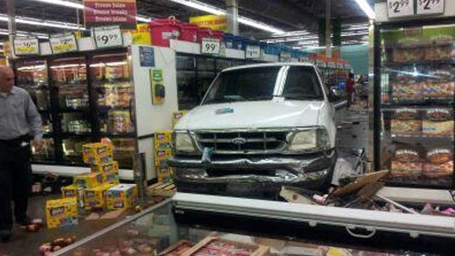 A FOX5 viewer provided this picture of a pickup truck inside a Food 4 Less in Las Vegas after a crash March 1, 2014. (FOX5)