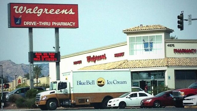 A delivery truck for Blue Bell Ice Cream marked the brand's debut in Las Vegas on March 3, 2014. (Photo/FOX5 Viewer Jess Holland)