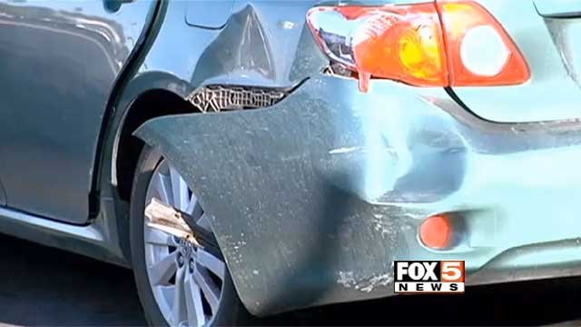 A car sustained damage in a minor crash in Las Vegas on Monday, Feb. 24, 2014. (FOX5)