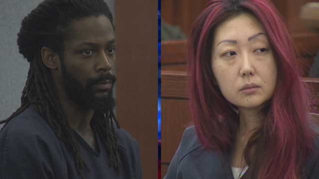 Kirk Bills, left, and Gloria Lee appear in two different Las Vegas courtrooms Monday, Feb. 24, 2014. (FOX5)