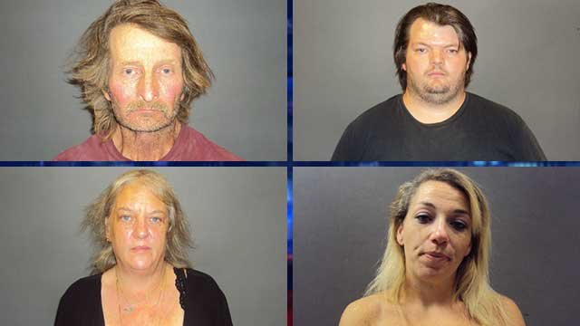From top, clockwise, Edward Brown, James Brown, Sherri Brown and Trista Parrott. (Source: Bullhead City Police Dept.)