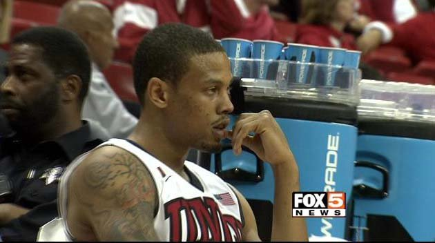 Bryce Dejean-Jones appears with the UNLV men's basketball team at the Thomas & Mack Center on Wednesday, March 5. (FOX5)