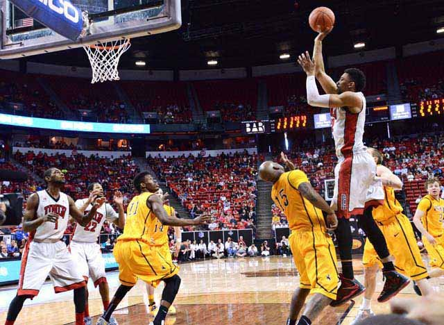 UNLV's Khem Birch shoots for two during the Mountain West Basketball Conference on Thursday, March 13. (Source: Las Vegas News Bureau/Bryan Haraway)