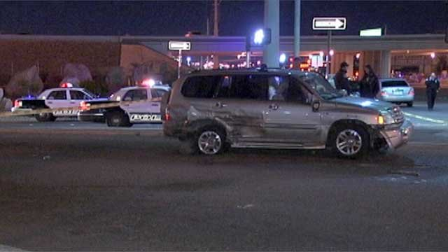 Police on the scene of a shooting and four-car crash on Eastern Avenue near Interstate 215 on Thursday, March 13. (Erik Ho/FOX5)