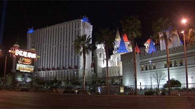 The exterior of the Excalibur Hotel and Casino is seen on March 18, 2014. (File/FOX5)