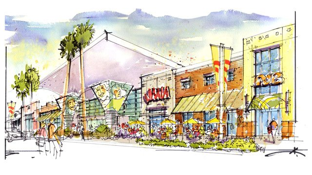 An artist rendering shows planned renovations for the Boulevard Mall on Maryland Parkway. (Source: Sansone Companies)