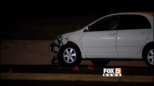 A hit-and-run driver in a pickup truck also struck a white sedan while fleeing from a crash on Las Vegas Boulevard and Windmill Lane. (FOX5)