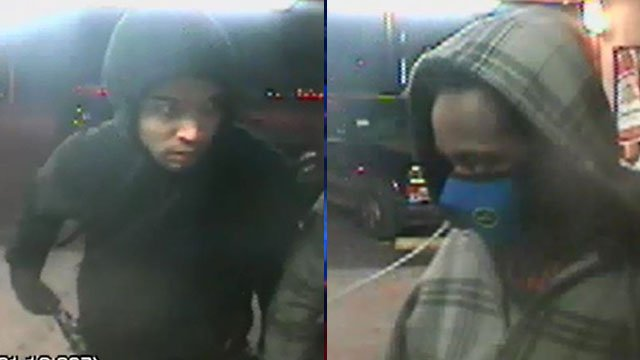 Police said the person pictured left used a handgun to hold up a store near Rainbow and Charleston boulevards on March 12, 2014. The person pictured right was identified as the suspect who struck a clerk in the face during the heist. (LVMPD)