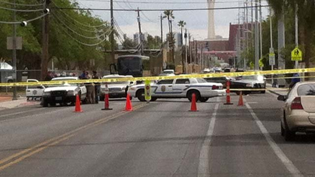 Police on the scene of a shooting on J Street in Las Vegas on Friday, April 4. (Jason Valle/FOX5)