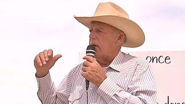 Rancher Cliven Bundy addresses his supporters on Friday, April 11. (FOX5)