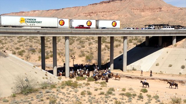 On April 12, 2014, protesters, some on horses, gather at a pen where cattle seized by the BLM were being held. Traffic on the bridge above is stopped. (FOX5)