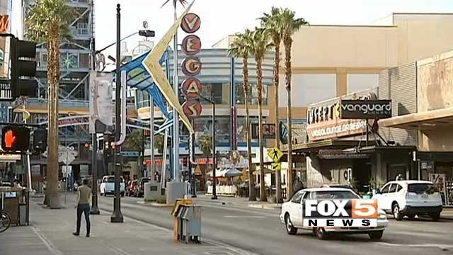 In this undated image, cars move along Fremont Street in downtown Las Vegas. (File/FOX5)