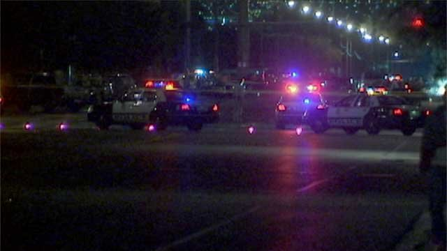 Police investigated a crash that killed a 2-year-old girl near Lake Mead Boulevard and Pecos Road on April 18, 2014. (LVMPD)
