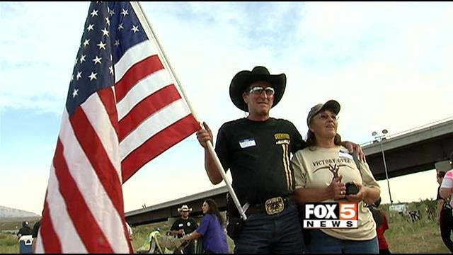 Supporters of rancher Cliven Bundy celebrate in Bunkerville, NV, on Friday, April 18. (FOX5)