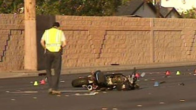 A motorcycle struck a driver near Lake Mead Boulevard and Pecos Road on April 21, 2014. (FOX5)