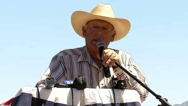On April 24, 2014, Cliven Bundy talks to the media and his supporters about comments about slavery and African-Americans that were quoted in the New York Times. (FOX5)