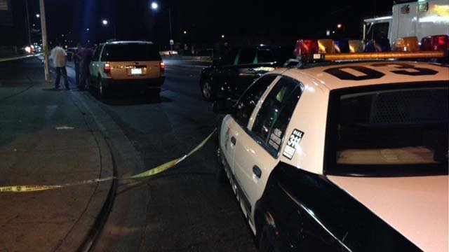 A Las Vegas Metropolitan Police cruiser near where a body was found on Owens Avenue on Thursday, May 1. (Erik Ho/FOX5)