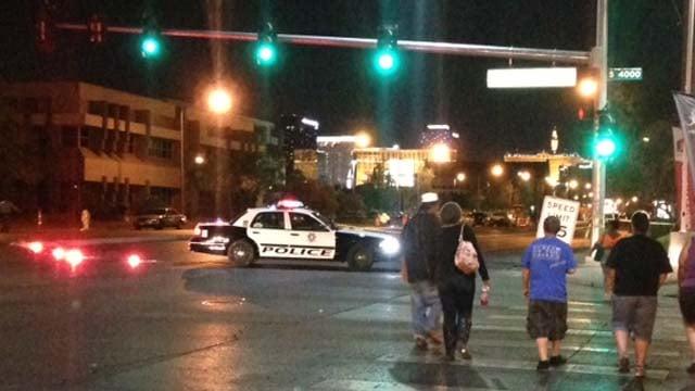 A Las Vegas Metro cruiser parked near where a body was discovered on Flamingo Road on Thursday, May 1. (Erik Ho/FOX5)