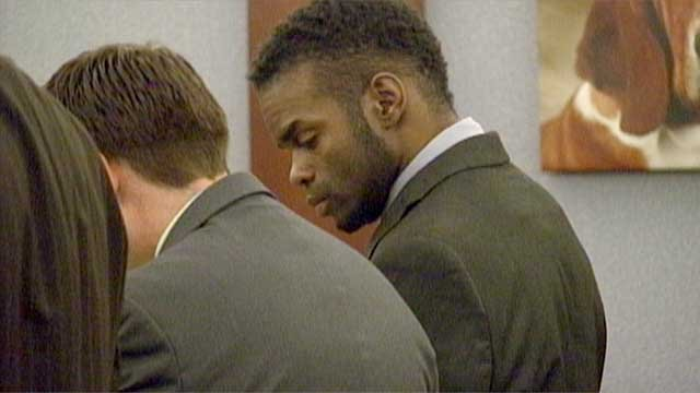 "Defendant Jason ""Blu"" Griffith, right, next to his attorneys at the Regional Justice Center on Thursday, May 8. (FOX5)"