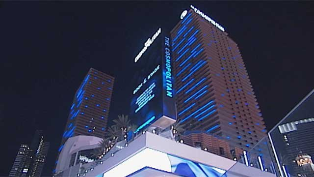In this undated image, the unique lights of The Cosmopolitan of Las Vegas shine. (File/FOX5)