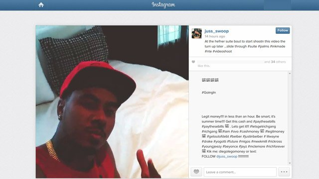 An Instagram video recording posted on May 15, 2014 shows hip-hop producer Juss Swoop during a music video shoot inside a suite of the Palms Resort Casino. (Source: Instagram.com/jussswoop)