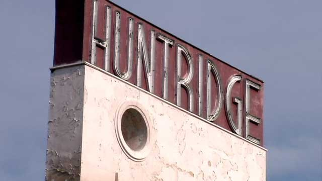 The weather-worn sign of the Huntridge Theater is seen in this July 16, 2013 image. (FOX5)