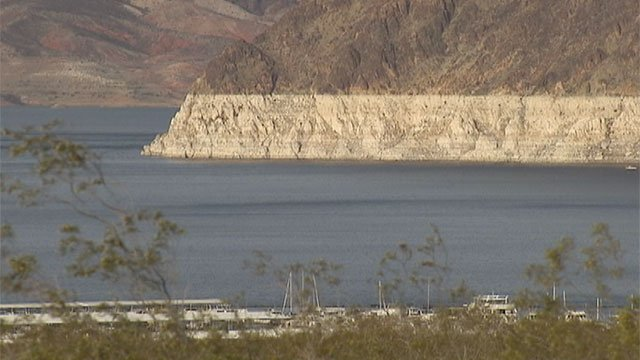 Lake Mead's dropping water level is apparent in this undated file photo. (File/FOX5)