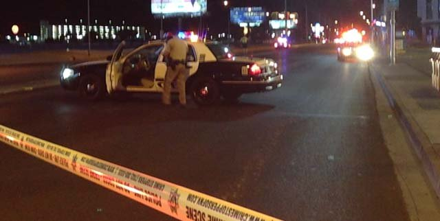 Police at the scene of an officer-involved shooting on Sahara Avenue near Interstate 15 on Friday, May 30. (Robbie Hunt/FOX5)